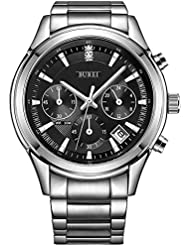 BUREI Mens Chronograph Stopwatch Watches with Formal Date Calendar Mineral Glass Stainless Steel Bracelet