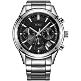 BUREI Mens Business Casual Elegant Chronograph Sports Watch with Genuine Leather Strap (Black-Stainless Steel)