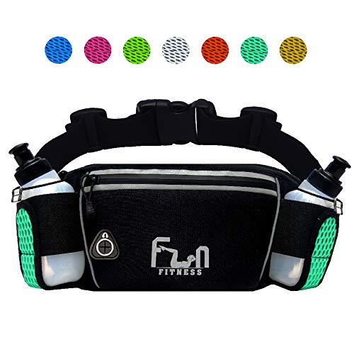 3f3d918ecc3e Hydration Running Belt Water Waist Bag (Turquoise - Large) with Drinking  Bottles 6oz - Fanny Pack for Outdoors and Sports Like Hiking Walking, with  ...
