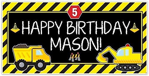 - Under Construction Dump Truck Party Zone Birthday Banner Custom Decoration
