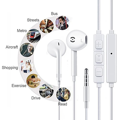 Earbuds,Earphones,Headphones,HaRuion In Ear Earbuds,In The Ear Earphones Wired with Mic/Remote Control for Apple Iphone 6S Plus/Samsung Galaxy S9 8/Huawei/Blackberry Mobile Tablet Music Players by HaRuion (Image #7)