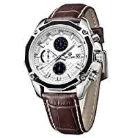 Mens Watch - MEGIR Mens Leather Date Military Quartz Analog Chronograph Watch Color:Brown