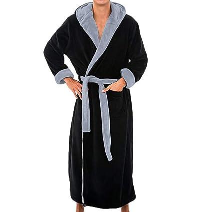 Men s Winter Lengthened Plush Shawl Bathrobe Home Clothes Long Sleeved  Seamless Robe Coat (Black 3ce59e4a2