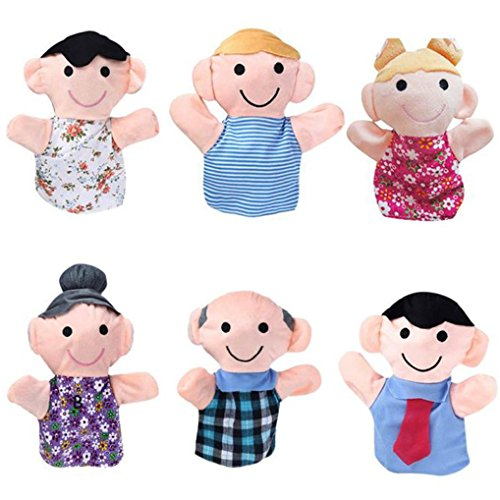 AMA(TM) 6PCS Baby Kids Home Family Members Finger Hand Puppets Infant Kid Toy Plush Toys Educational Toy Christmas Gifts ()