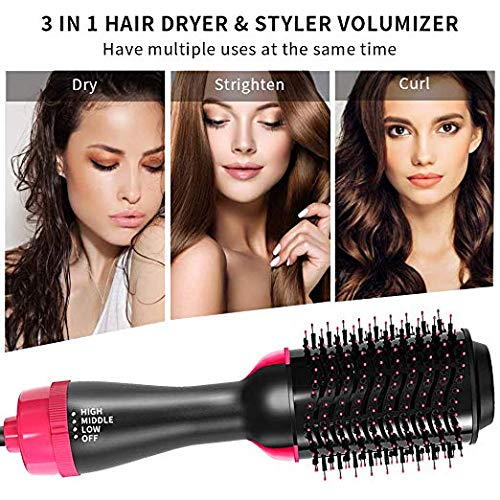 Blow Dryer Brush for Hair Styling, Hot Air Paddle Styling Brush, Hot Air Brush, Negative Ion 3-IN-1 One Step Hair, Dryer Hair Straightener Curler Comb Brush for All Hair Types