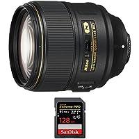 Nikon (20064) AF-S NIKKOR 105mm f/1.4E ED Lens w/ Sandisk Extreme PRO SDXC 128GB UHS-1 Memory Card