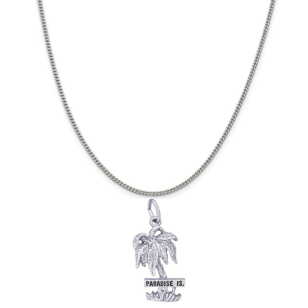 18 or 20 inch Rope Rembrandt Charms Sterling Silver Paradise Island Palm Tree Charm on a 16 Box or Curb Chain Necklace