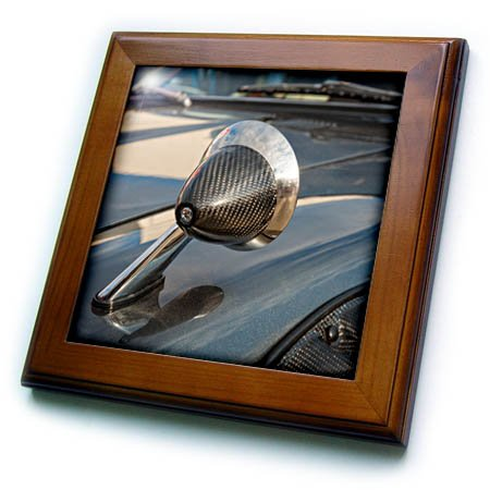 3dRose Alexis Photography - Transport Road - Details of a rear view mirror on a motor hood of a vintage sport car - 8x8 Framed Tile (ft_276068_1) by 3dRose