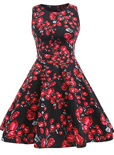 oten-womens-vintage-tea-dress-sleeveless-floral-1950s-cocktail-dressing-medium-black-red-rose