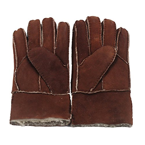USANDY Women's Rugged Australia Sheepskin Shearling Warm Leather Winter Furry Gloves (Classic Shearling Gloves)