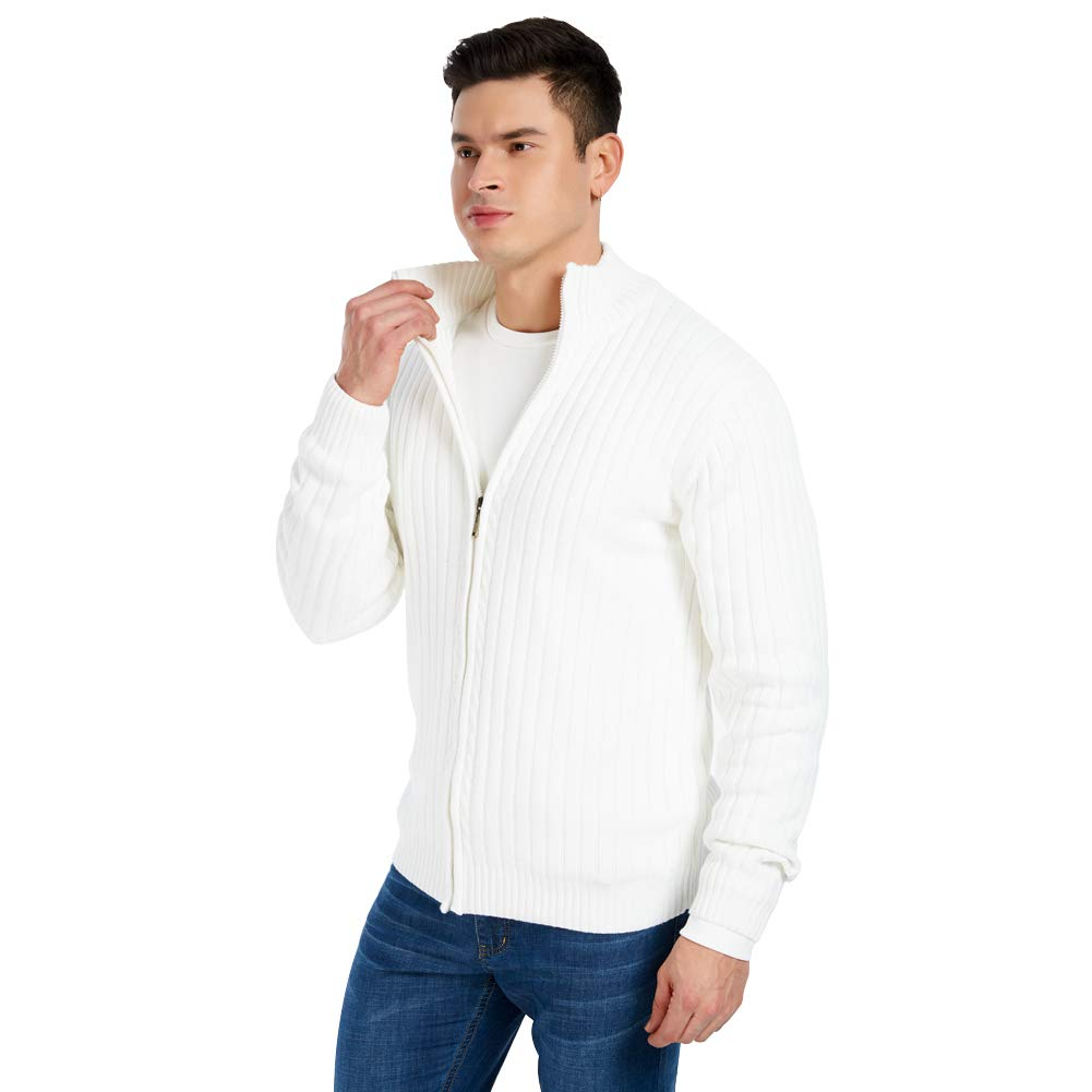 JEKAOYI Mens Full Zip Cotton Cardigan Sweater Casual Slim Fit Knitted Sweaters for Men