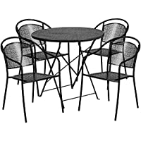 Flash Furniture 30 Round Black Indoor-Outdoor Steel Folding Patio Table Set with 4 Round Back Chairs