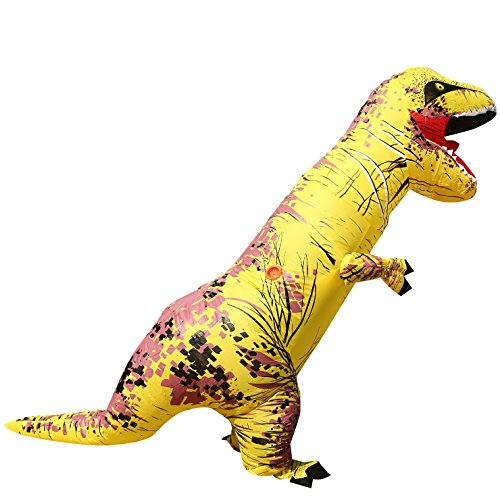 Men's Novelty Fancy Costume Inflatable Yellow t-rex Blow up Outfit for Halloween & Christmas ()