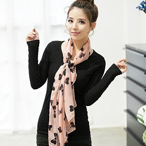 BIGBOBA Elegant Noble Long Scarves Soft Bowknot Pattern Tassels Shawl For Women Ladies Pink 160*45CM Pink VDQVq
