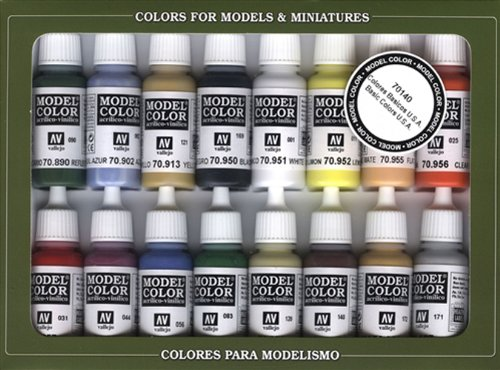 Vallejo Basic USA Colors Paint Set, 17ml Acrylic Model Paint