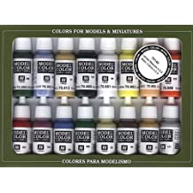 Vallejo Basic USA Colors Paint Set, 17ml