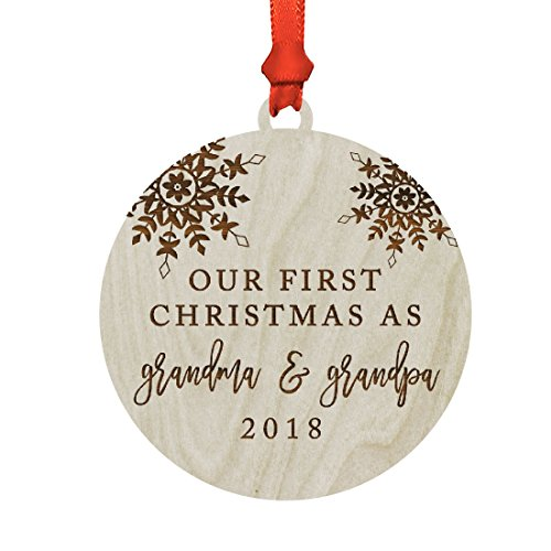 Andaz Press Family Laser Engraved Wood Christmas Ornament, Our First Christmas As Grandma and Grandpa 2018, Snowflakes, 1-Pack, Includes Ribbon and Gift Bag