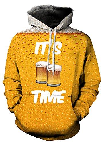 Indrah Womens' Unisex Realistic Big Pockets Drawstring Hoodie Sweatshirt (2XL/3XL, Beer) ()