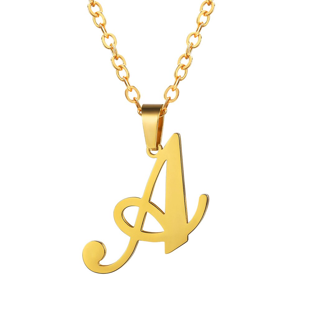 PROSTEEL Initial Letter A Necklace Alphabet Name Monogram Jewelry Men Women Personalized Bridesmaid Gift Wedding Minimalist Bridal Party Graduation Gift Stainless Steel 18K Gold Plated,PSP3036J