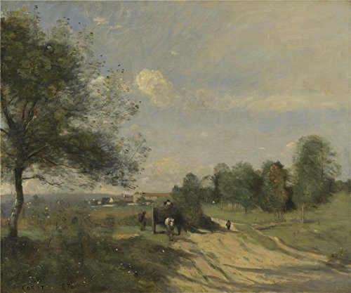 Oil Painting 'Jean Baptiste Camille Corot The Wagon (Souvenir Of Saintry)', 12 x 14 inch / 30 x 37 cm , on High Definition HD canvas prints, Home Theater, Laundry Room And Powder Room Decoration, fine