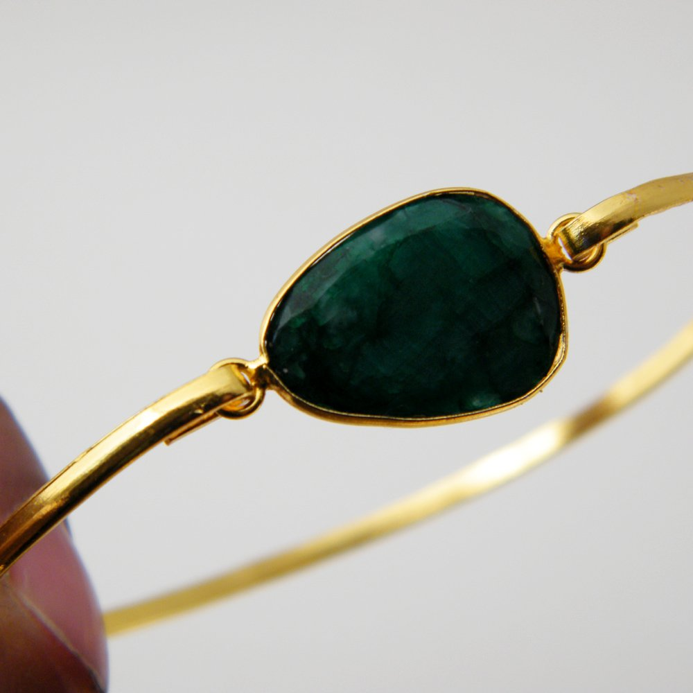 Surbhi Crafts Green Emerald Beryl Bracelet Gold Tone Jewelry AH-8144 Gemstone Bracelet Jewelry Bronze Bracelet
