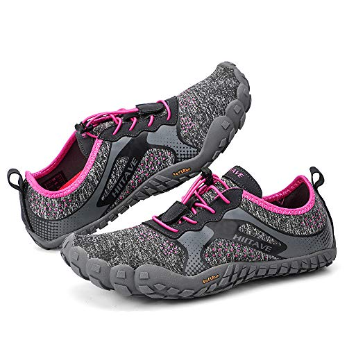 hiitave Womens Trail Running Barefoot Shoes Lightweight Gym Athletic Walking Shoes for Outdoor Sports Cross Trainer Dark Gray/Fushia US 6.5/7 Women