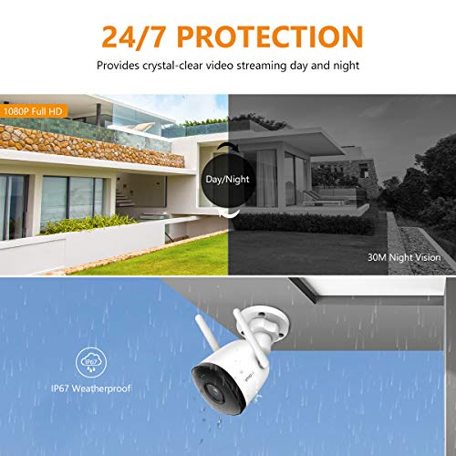 Outdoor Security Camera WiFi 30M Night Vision 1080 FHD IP67 Weatherproof CCTV Camera, AI Human Motion Detection with…