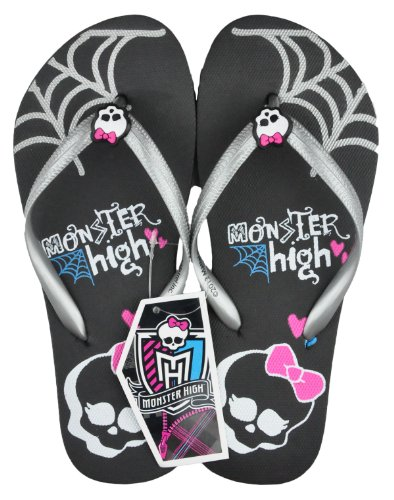 Monster High - Zuecos para niña - Silver Strap With Black Sole