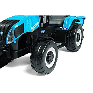 Peg-Perego-New-Holland-T8-Tractor-and-Trailer-Blue-with-Spare-12-Volt-Battery-and-Charger