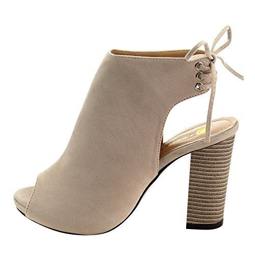 - Chase & Chloe Marcy-1 Women's Back Lace Up Cut Out High Block Heel Ankle Booties,Nude,9