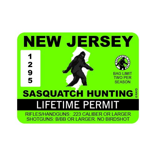 "RDW New Jersey Sasquatch Hunting Permit - Color Sticker - Decal - Die Cut - Size: 4.00"" x 3.00"""
