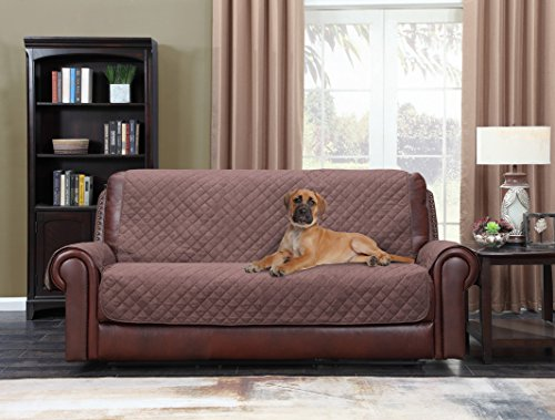 Home Queen Premium Couch Slipcover for Leather Sofa, Non-Slip Water Resistant Sofa Protector for Dogs, Kids, Pets, Sofa Covers 75'' L x 110'' W, Chocolate/Tan