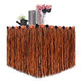 Urbebe 108'' X29'' Halloween Decorative Table Skirt, Artificial Grass Hawaiian Style Table Skirt with 4 Pumpkins, 4 Spiders, 4 Skulls Pendant, Great for Party Decorations (#2)