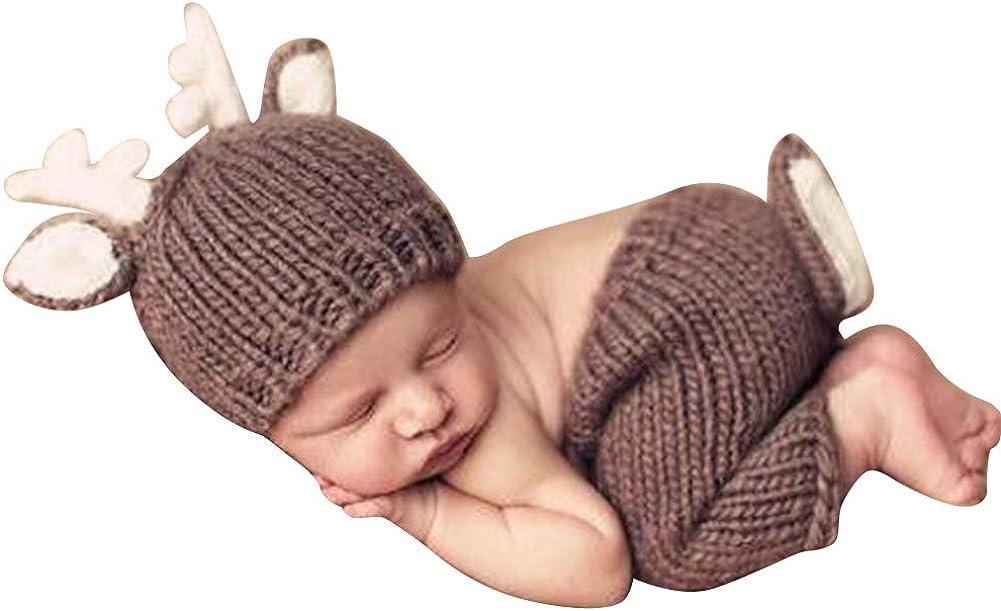 Quge Recién Nacido Fotografía Apoyos Bebé Crochet Trajes Ciervos Sombrero + Pantalones Cortos