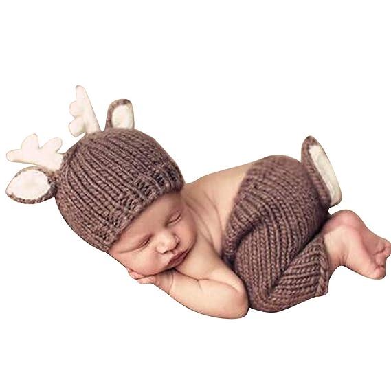 Quge Recién Nacido Fotografía Apoyos Bebé Crochet Trajes Ciervos ...