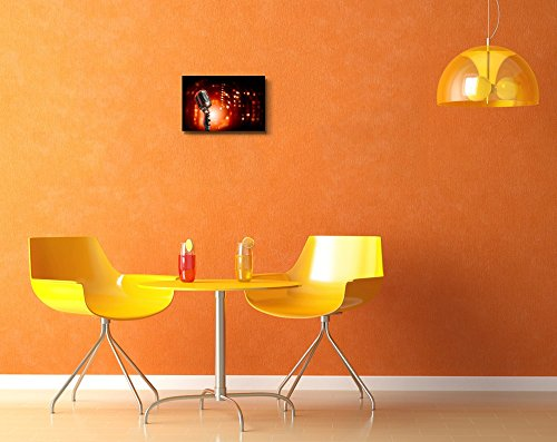 Single Retro Microphone Against Colourful Background with Lights Wall Decor