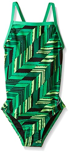 Speedo Girls Endurance+ Angles Flyback Swimsuit, 6/22, Green