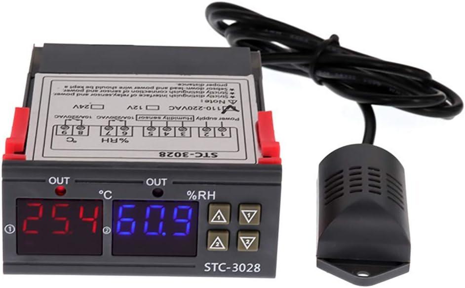 DollaTek Temperatur-Feuchtigkeitsregler 220V 2 Relais STC-3028 mit Temperatur-Feuchtigkeitssensor Sonde Dual Thermostat Luftfeuchtigkeitsregler