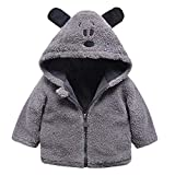 GBSELL Toddler Baby Kids Girls Boy Cartoon Thick Warm Jacket Outfits Clothes Fall Winter (Gray, 6-12 Months)