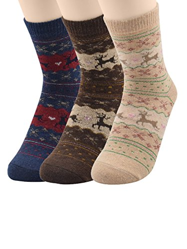 Century Star 3 Pairs Ultra Light Thermal Cashmere Cotton Blend Functional Socks 3 Pack Deer2