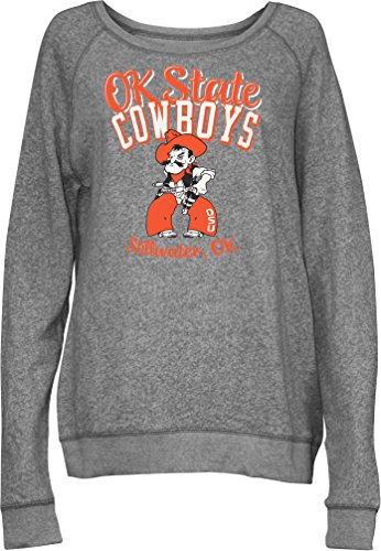 Three Square by Royce Apparel NCAA Oklahoma State Cowboys Junior's Blythe Knobi Crew Fleece, X-Large, Heather Grey (Oklahoma State Square)