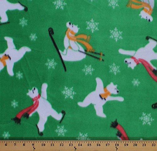 Skating Polar Bears Skiing Snowflakes Animal Green Fleece Fabric Print by the Yard oskatingbearsg