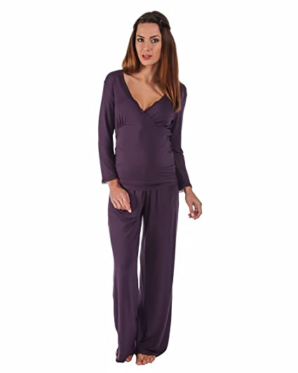 The Essential One- Pijama de lactancia de lujo/Camisón lactancia premamá con mangas larga