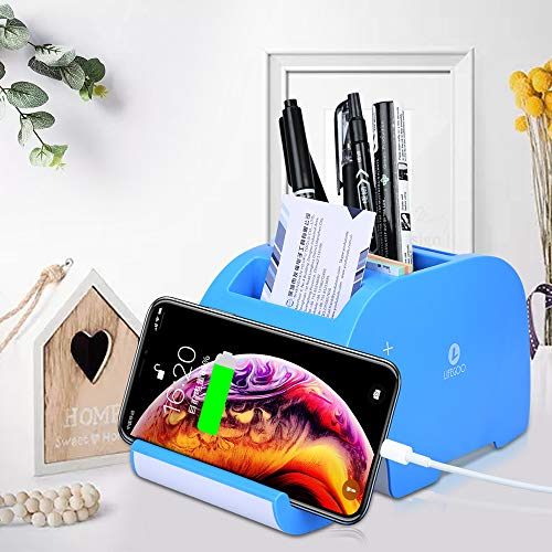 Lifegoo Office Storage Supplies Elphant Shaped Desk Pen Pencil Supply Organizers with 2 USB Multifunction All in 1 Cell Phones Mount Holder Office Home Art Decoration Christmas Gift Box - Blue