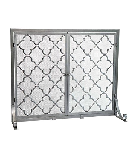 (Large Steel Geometric Fireplace Screen with Doors, Durable Frame and Metal Mesh, 44 W x 33 H Pewter)