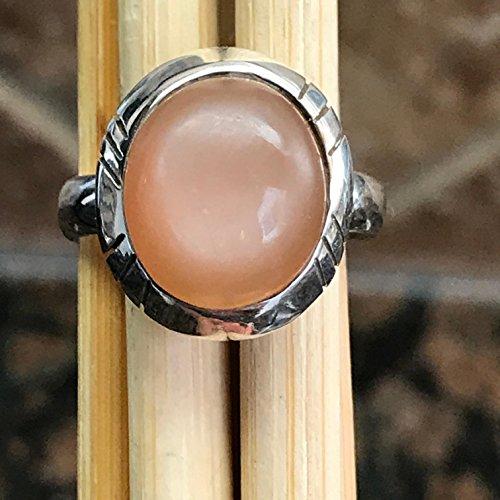 Peach Moonstone Ring (Natural Shimmering True Moonstone/Peach Orthoclase Moonstone 925 Sterling Silver Unisex Ring sz 8)