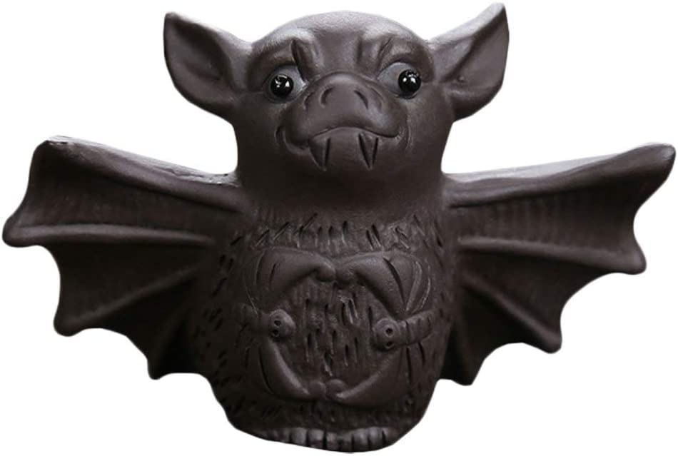Chinese Yixing Wise Bat Figurine Tea Pet, Bat Tea Pet Ceramic Bat Statue Ornament Gift for Home Office Tea Supplies