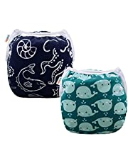 ALVABABY Swim Diapers Reusable Washable Adjustable 0 to 36 mo.for Infants Toddlers 2 Pack One Size Swimming Lesson SW18-21