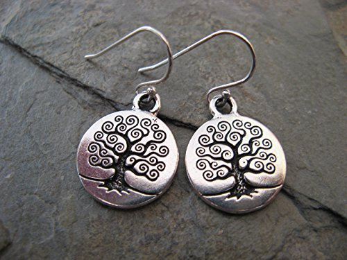 (Mixed Metals Tree of Life Charms and Sterling Silver Earrings Artisan Jewelry)