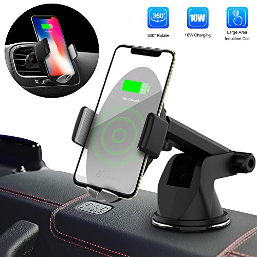 Wireless Car Charger, Vansky Automatic 10W Qi Fast Charging Air Vent Phone Holder for Car, Touch Sensitive Car Phone Mount for iPhone Xs Max/XR/XS/X/8 Plus, Samsung Galaxy S9 Plus/S8/S8 Plus and More